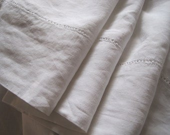 Beautiful XL king size French pure linen sheet.  Fabulous bedding fabric or billowy curtain