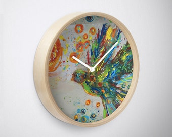 The Colors of Peace II Round Wall Clock Original Art Colorful and Unique