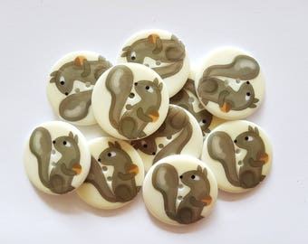 10 pcs Squirrel Printed Retro Buttons 35mm 2 Holes