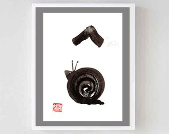 Snail Climbs Mount Fuji Zen Painting of Basho haiku poem Sumi-e Painting Original Zen Art, Zen Decor, japanese tea ceremony illustration