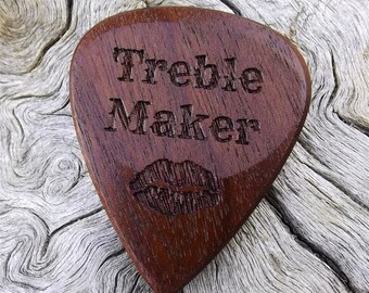 Wood Guitar Pick - Premium Quality - Handmade From Ipe (AKA Brazilian Walnut) - Laser Engraved On Each Side - Actual Pick Shown