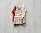 Upcycled Tshirt, Poncho, Blouse, Recycled Clothing, Reclaimed, Patchwork Shirt, Fun Clothes, Striped Shirt, Coffee, Beige, Tan, Burgundy