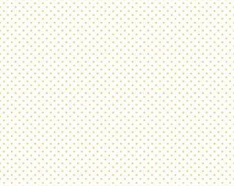 Yellow Swiss Dot on White - Riley Blake Swiss Dots - 1 Yard Cut - Yellow Polka Dot Fabric - Quilter's Cotton BTY - Spotted Fabric Yardage