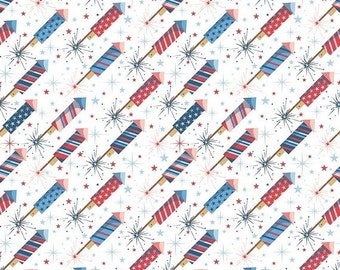SALE Parade On Main White - Riley Blake C6081-White - 1 Yard Cut BTY - Red White Blue Patriotic Fabric - Independence Day - Fourth of July