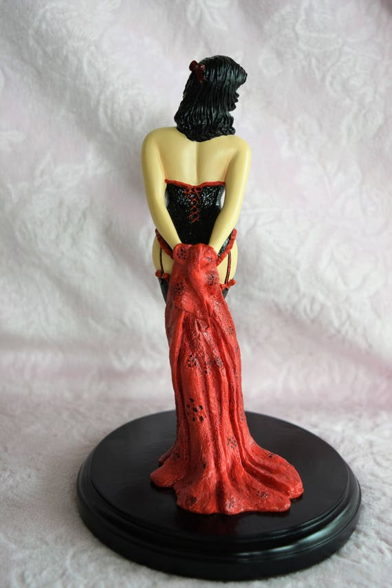 PINUP GIRL FIGURINE Iconia Resin Black Red Corset Lady Pin Up