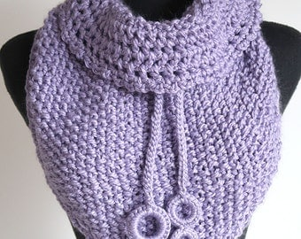 Sweet Lilac Lavander Violet Light Purple Color Kerchief Cowl Collar Gaiter Capelet Mini Fichu Shawl Scarf Collar with Crocheted Ties  Rings