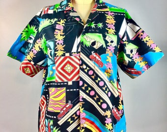 Vintage 1960s Hawaiian Shirt Men's Snap Front Woody Surfer Tiki Hut Sailboat 44 Chest