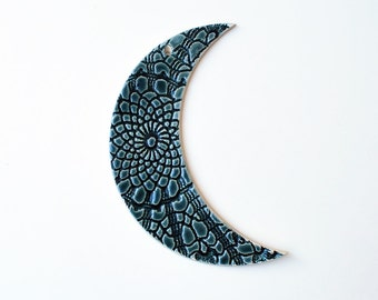 Blue Moon Wall Hanging - Lace Pattern - Ceramic, Pottery, Handmade - Nursery Decor, Wall Art - Gifts for Moon Lovers