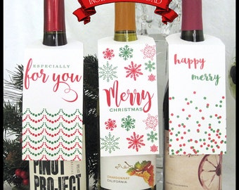 Holiday Wine Tags / Red & Green / Xmas / Snowflakes, Confetti, Streamers / Set of 3 / Christmas Bottle Tags / DIY Instant Download