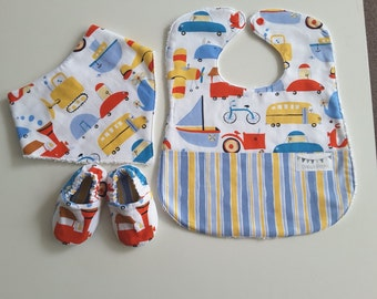 Bib,bandanna and shoe set, boys baby shower gift