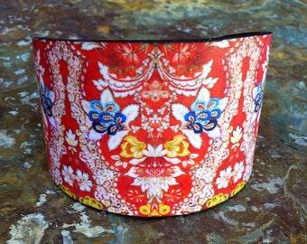 Vintage fabric polymer clay cuff