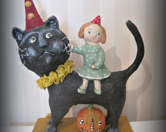 OOAK fantasy doll Halloween doll cat art doll animal doll papier mache