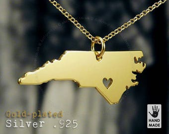 North Carolina Map Handmade Personalized Goldplated Sterling Silver .925 Necklace in a gift box