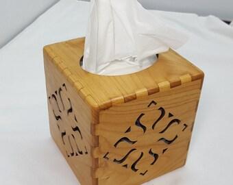 Wooden tissue box cover laser cut Alder