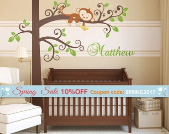 Monkey Wall Decal Etsy - Custom vinyl wall decals groupon