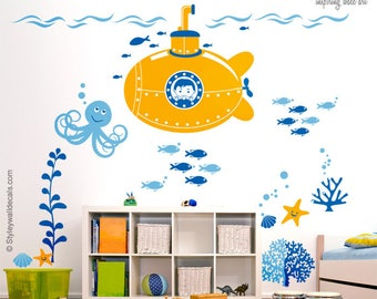 Submarine Wall Decal, Submarine Nursery Stickers, Underwater Wall Decal, Ocean Wall Decal, Fishes Wall Decal, Nursery Playroom Wall Decals
