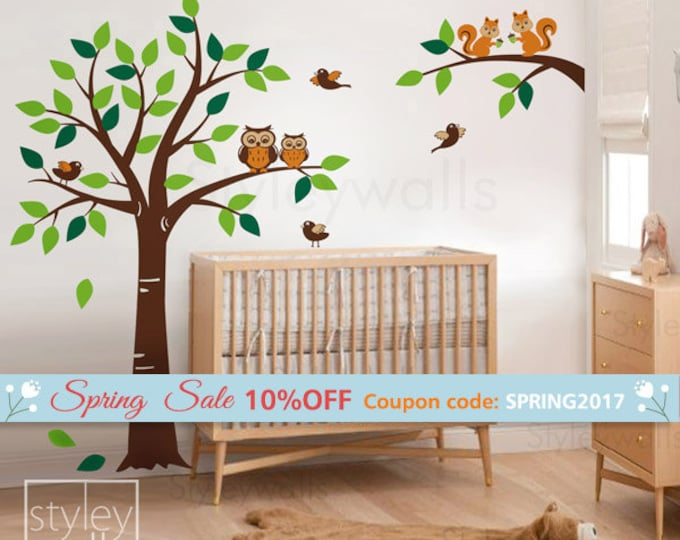 Forest Animals Tree Wall Decal Woodland Wall Decal, Squirrels Owl and Birds Animals Wall decal Nursery Decal Baby Room Kids Children