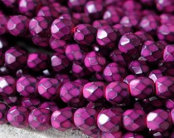 50 - 4mm Honeycomb Firepolished Beads - Jewelry Making Supplies - Fuchsia Pink Honeycomb