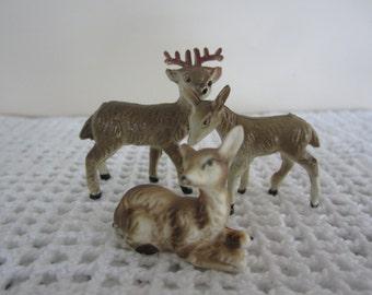 Vintage Miniature Deer Figurines Set of 3 Deer Fairy Gardens & Doll House Embellishments