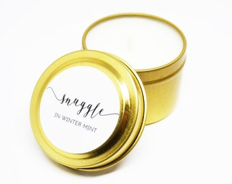 Final Sale - Snuggle Aromatherapy Eucalyptus Spearmint Soy Candle Gold Travel Tin 2 Oz. 10 Plus Hours Burn Time