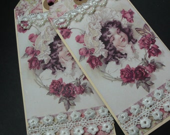 Handmade Gift Tags, Lace Tags, Victorian Girl and Roses, Scrap Booking, Journaling, Keepsake, Gift for Her