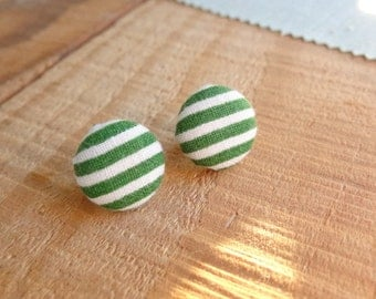Green and White Stripe Fabric Covered Button Post Earrings. Stud Earrings. Handmade