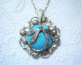 Antiqued silver plated Art Nouveau lily necklace with Czech glass turquoise  - VS723