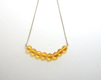 Faceted Citrine Gemstone, Statement Necklace, Sterling Silver Chain