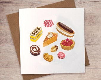 Cakes, Desserts & Patisserie Greeting Card / Note Card / Blank Greeting Card