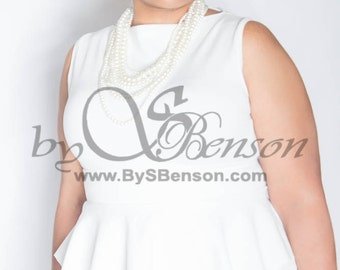 Plus Size Custom Peplum Dress 2 Pieces