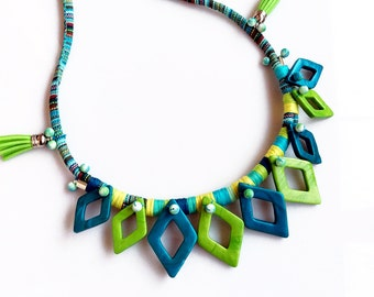 Rope Statement Necklace, Fiber Necklace, Blue Green Bib Necklace