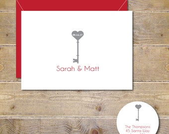 Wedding Thank You Cards, Bridal Shower Thank You Cards, Hearts, Heart Wedding Thank You Cards, Lock and Key Wedding Thank You Cards