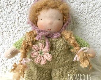 Waldorf doll (girl 7 inch). Pocket doll. Handmade doll.