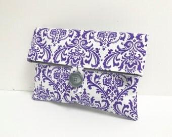 Purple Damask Makeup Bag - Purple Bridesmaid Clutch