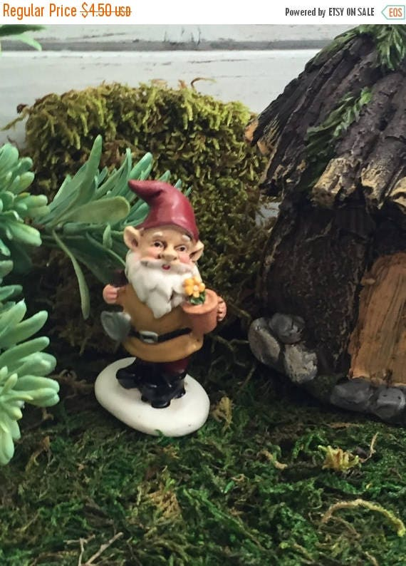 Miniature Garden Gnome With Flower Pot, Fairy Garden Accessory, Home And Garden  Decor, Gnome Garden