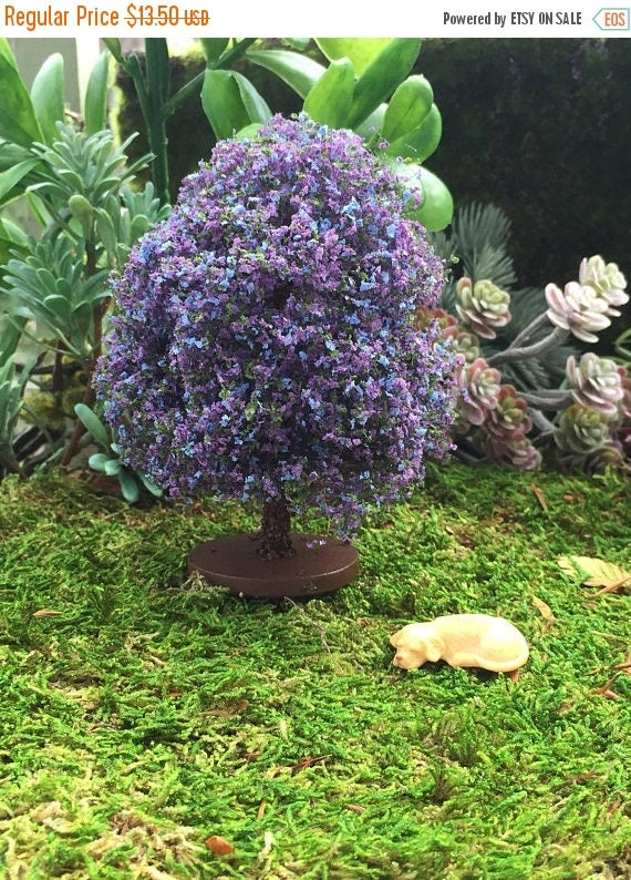 SALE Miniature Tree, Mini Tree with Purple and Blue Flowers, Dollhouse Miniature Accessory, Yard & Garden Decor, Mini Flowering Bush
