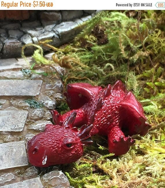 SALE Miniature Sleepy Red Dragon Figurine, Fairy Garden Accessory, Garden Decor, Enchanted Story, Topper, Shelf Sitter