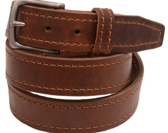 """Men's 1 3/8"""" Walnut Re-Tanned Leather Belt Brown Decorative Stitching Natural Edge Square Tip Matte Buckle Made In America"""