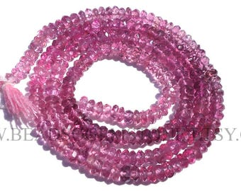 Pink Tourmaline Faceted Rondelle (Quality AA+) / 3 to 3.50 mm / 36 cm / TOUR-031