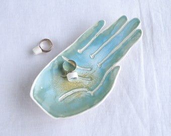 PALM soap dish turquoise aqua glaze porcelain palmistry hand ring holder jewellery dish candle holder bathroom accessory
