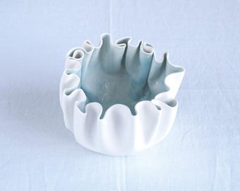 RUFFLED No5 white porcelain bowl with celadon blue glaze, white and blue, statement bowl, freeform ceramic, ceramic bowl, porcelain bowl