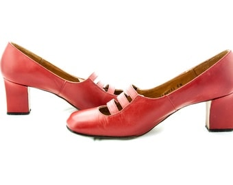 Ted Saval Leather Red Buckle Heels, Size 6.5