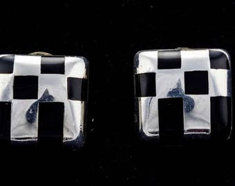 Bayanihan Modernist Onyx and Silver 925 Square Earrings