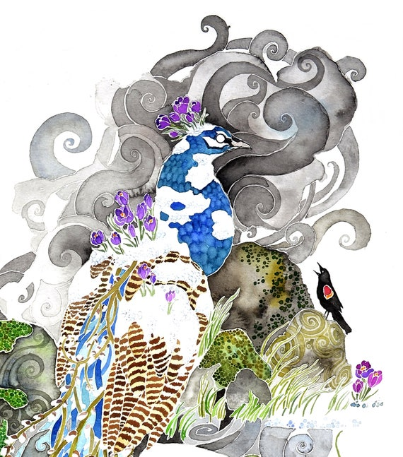 Spring Plumage-  PRINT of original watercolor peacock, trout, blackbirds, crocus flowers