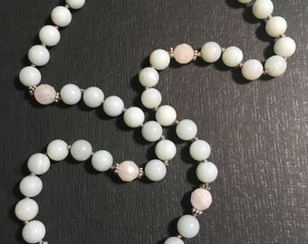 Amazonite and Rose Quartz hand knotted Necklace