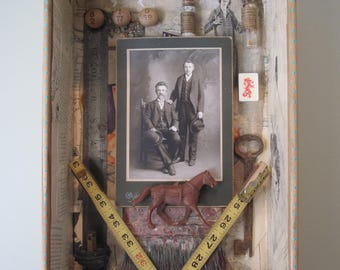 Mixed media art, assemblage, 3D art, found object sculpture, shadow box