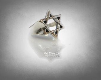 Star of David magen david hand made ring Sterling Silver 925 Ring Ezi Zino