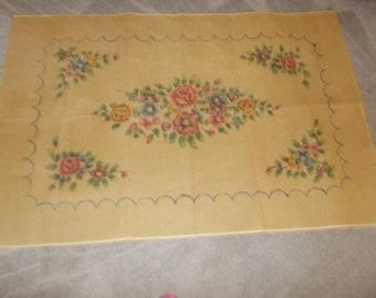 Vintage LARGE Latch Hook Rug Canvas Floral 63 x 41