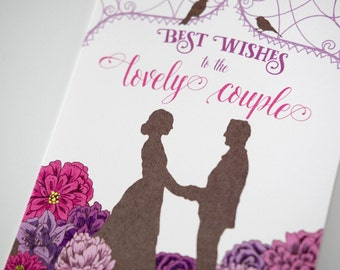 SALE - Wedding Engagement Congratulations Silhouette greeting card - 50% off