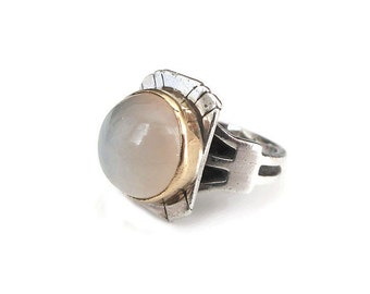 Sterling 18K Gold Tourmaline Ring - Sterling Silver Ring, 18K Gold Ring, Milky Tourmaline, Gemstone Ring, Vintage Ring, Size, 6.5